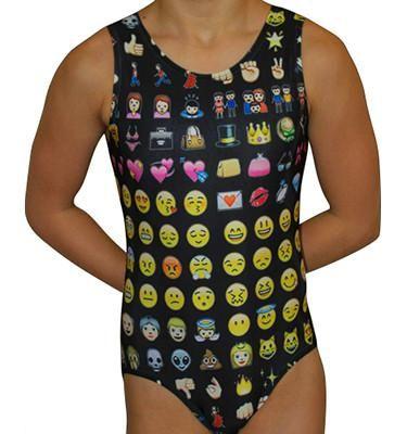 Gymnastics Leotard Girls Emoji Print Leotard. Available in Sizes Child S - Adult Large