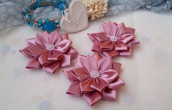 3 pink flower embellishments satin ribbon flowers by Rocreanique on Etsy
