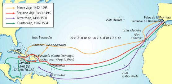 Map of Columbus' four voyages to the Americas.