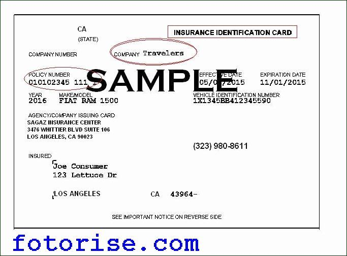Blank Auto Insurance Card Template New Car Insurance Id ...