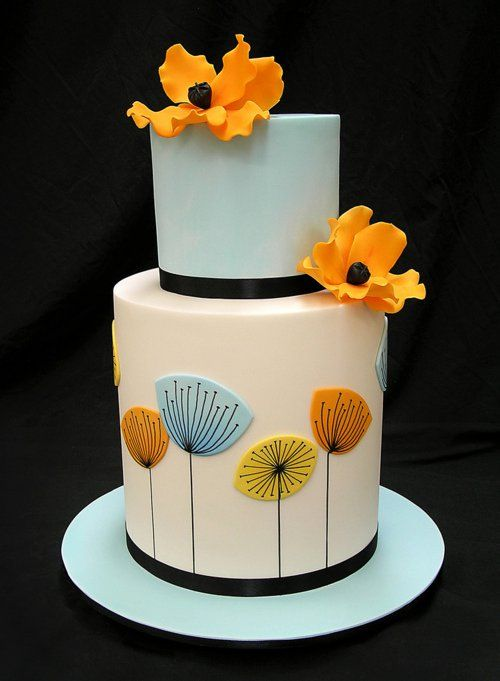 """GAH I love love LOOOOVE this mid-century modern take on a """"floral"""" wedding cake!!!! Uuuuugh now I want to theme my eventual wedding cake on the Dot and the Line. (it's a cartoon from 196? and it's the world's most awesome love story so if you don't know you betta ask somebody.)"""