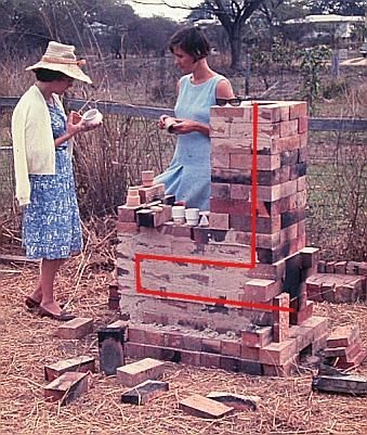 Simple house brick kiln.  Carol Rosser and friend.  Australia.  Plans posted on this page.