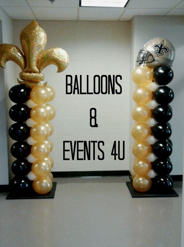 New Orleans Saints theme balloon columns.