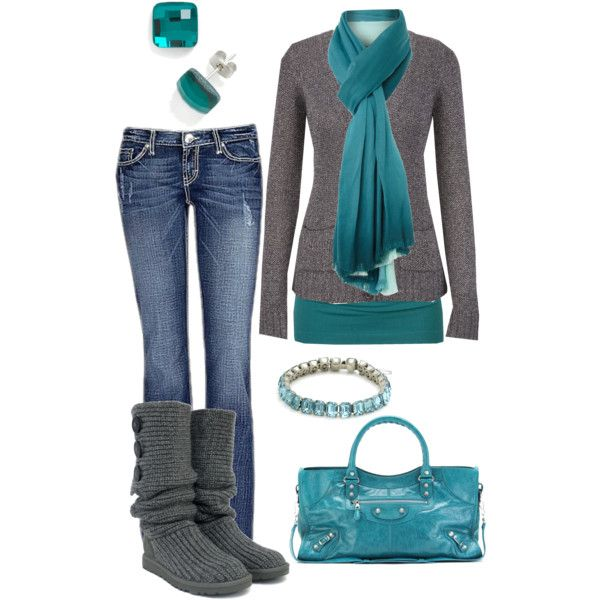 """""""Teal and Grey"""" by crzrdnk77 on Polyvore"""