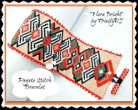 TB-PEY-021a - Flora Bright - Odd Count Peyote Stitch Bracelet - One of A Kind Design - Real fashion statement piece.