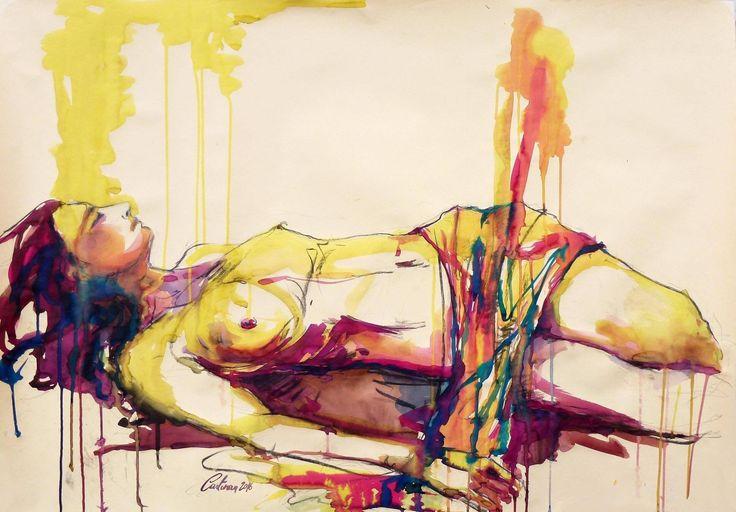"""Cristina Carturan """"Sara"""" Ecoline - 100x70 cm  L'amore? Non so. Se include tutto, anche le contraddizioni e i superamenti di se stessi, le aberrazioni e l'indicibile, allora sì, vada per l'amore. Altrimenti, no.  - Frida Kahlo -"""
