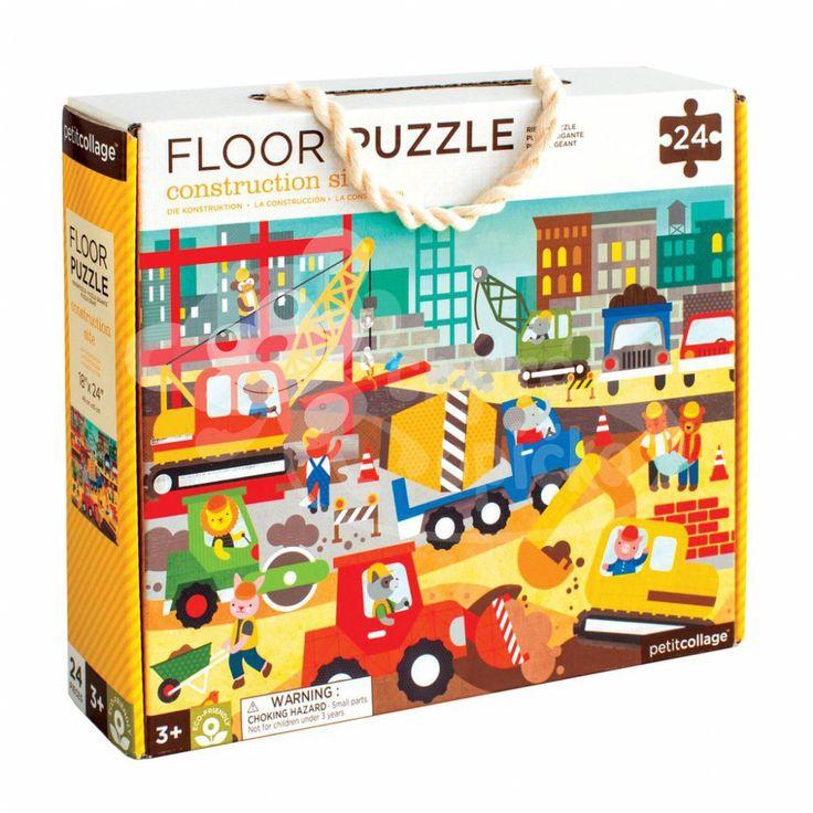 Podlahové ekologické puzzle - Petitcollage - Na stavbě - 24 dílů - metalické