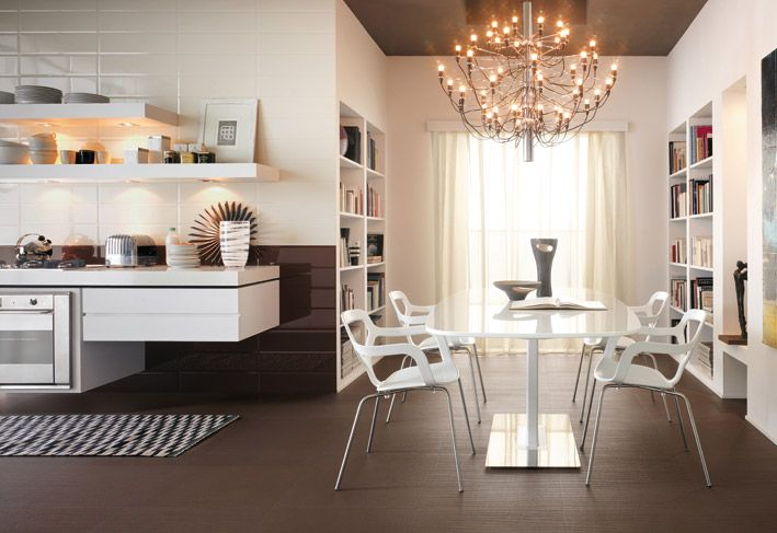 Interior Design, Carpet Modern White Kitchen Chandelier Brick Tiles Dining Table Dining Chairs Bookcase Books Bowls Oven Curtain Mounted Wall Kitchen Cabinet Plates And Brown Ceiling ~ Wonderful Ceramic Interior On The Floor Design