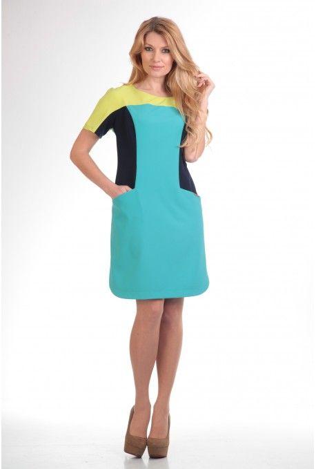 Трехцветное прямое платье длиной чуть выше колена. Горловина - округлая лодочка. Цельнокроеный рукав. Глубокие карманы. Фигурные разрезы на боковых швах. - Состав: пэ 95%, эластан 5%  http://shop.anastasiamak.by/platya/62-model-287.html