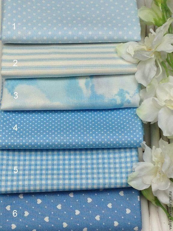 Купить Голубая коллекция тканей (makower UK) - голубой, хлопок, американский хлопок, ткань в горошек