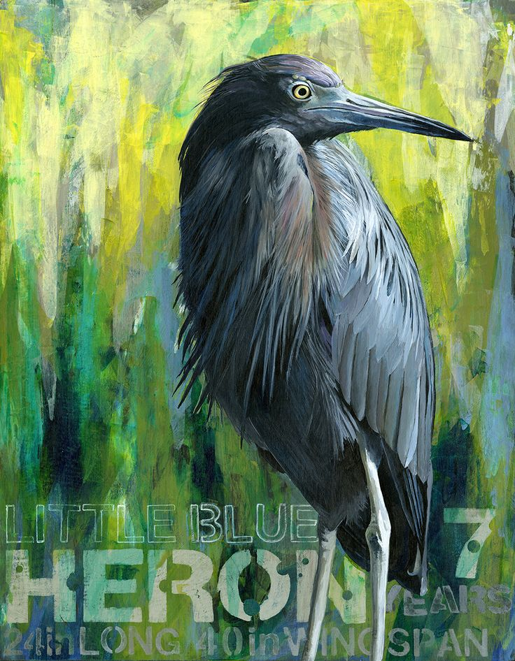 """Original Painting """"Heron 7"""" Acrylic on Panel by Artist Angie Carrier"""