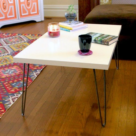 Mid-century modern hairpin leg Ikea hack coffee table ...