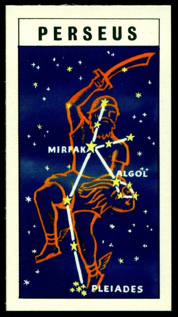 "https://flic.kr/p/fUEmPP | Tea Card - Constellation of Perseus | Brooke Bond Tea ""Out Into Space"" (series of 50 issued in 1958) #45 Perseus"