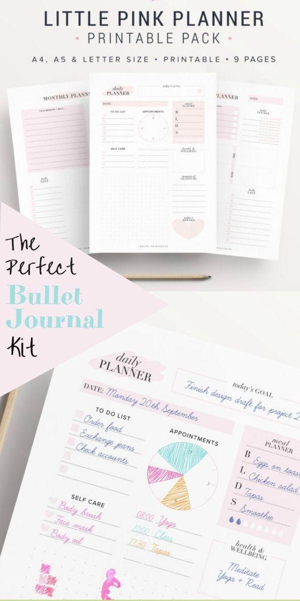 Pink! Cute planner pack Printable bullet journal bundle monthly