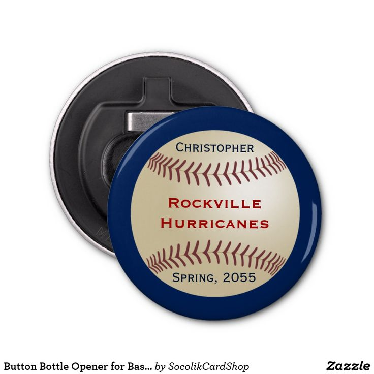 Button Bottle Opener for Baseball Team, Customized This personalized magnetic bottle opener has a dark blue background with an image of a baseball. It is personalized with 4 lines of text (eg name, team line 1, team line 2, season). This unique bottle opener is a great party favor for end of season team parties or banquets. It can easily be customized. All Rights Reserved © 2015 Alan & Marcia Socolik.