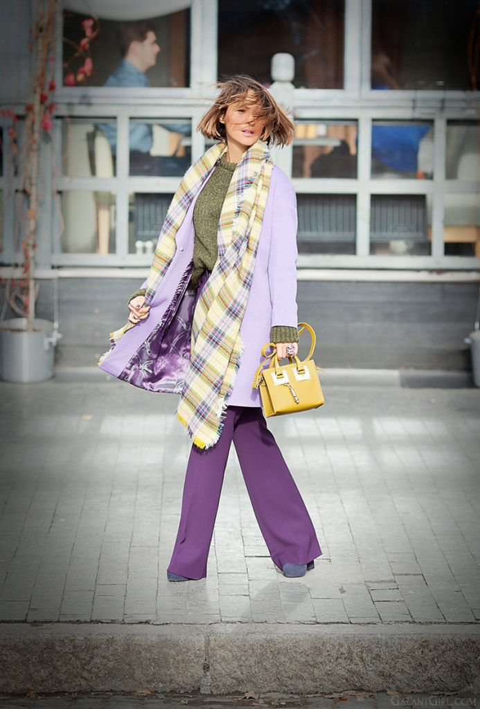 purple flared pants and light purple coat on GalantGirl.com