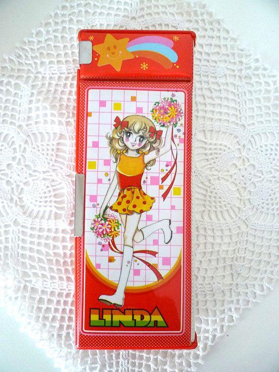 Vintage beautiful retro girl illustrations pencil case