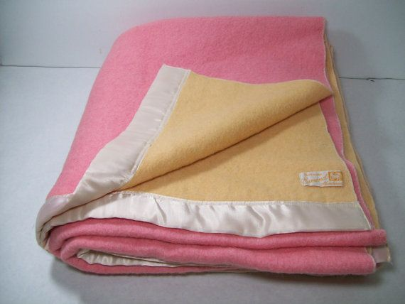 Vintage Wool Blanket Peach Melon Esmond Vintage Wool