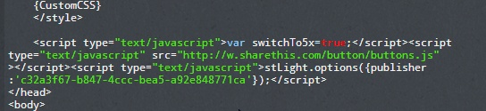 Add the second code from ShareThis just above  tag.