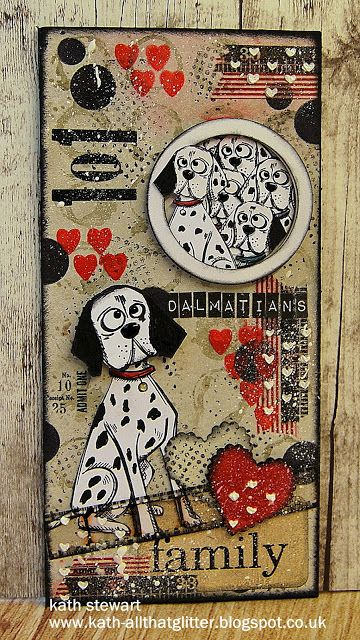 """Simon Says Stamp Monday Challenge """"At The Movies"""" 12 September showcasing Spellbinders Products...Standard Circles Dies, Scalloped Hearts, Hearts Mini Layering Stencil, Tim Holtz/Stampers Anonymous Crazy Dogs and Mini Crazy Cats and Dogs, SSS Lots of Dots and Falling Hearts Stencil, Idea-ology Film Strip, Numbers Remnant Rubs and Label Letters"""