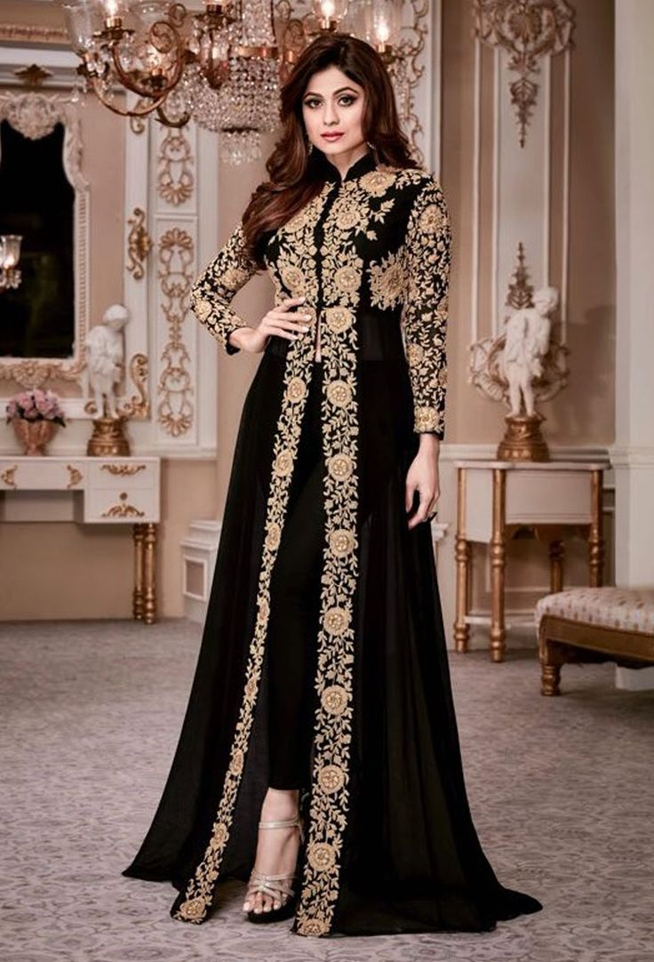 Shamita Shetty In Black Achkan Style Salwar Kameez #georgette #salwarsuit #designer #bollywood #georgettesalwarkameez #georgettesuit #georgettesalwarsuit #dress #onlineindiandress #sale#nikvik #freeshipping #usa #australia #canada #newzeland #Uk #UAE