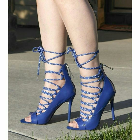 "GX by Gwen Stefani Hatsumi heels sandals. Sporty and edgy yet chic and sexy lace up shoes. Stiletto heel and high back-zip. Laces in blue and a bit of white.  Details: heel 4-1/2"", soft faux patent leather, back zipper clouser, TTS, comfy for the heel height.  Please use only ✔OFFER  button for all price negotiations. I'll do a price drop⤵ for you for discounted shipping, if we agree about the price. GX by Gwen Stefani Shoes Sandals"