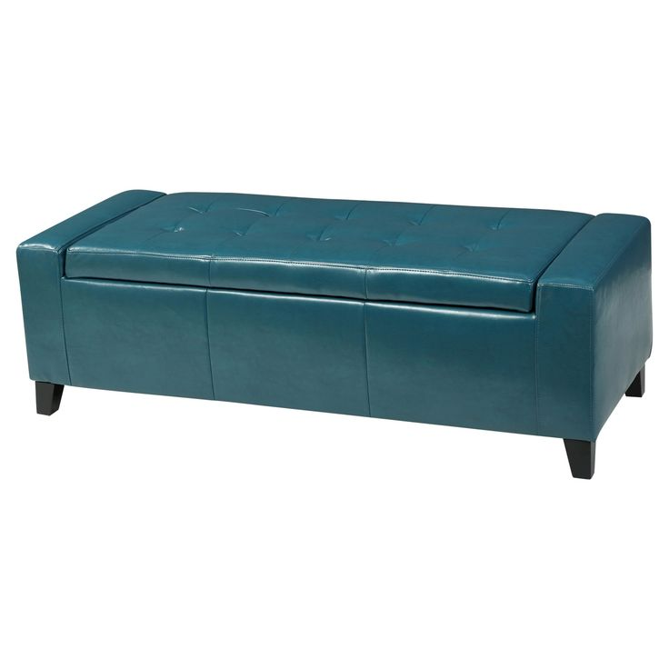 Guernsey Faux Leather Storage Ottoman Bench - Christopher Knight Home, Blue