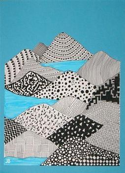 Schetsen met potlood een eenvoudig berglandschap. Vul de bergen met zwarte fineliner met verschillende patronen. Bolletjes, lijnen, driehoekjes, ruitjes, blaadjes, zo verschillend mogelijk. De patronen kunnen negatief en positief getekend worden. Voeg eventueel kleur toe (viltstift).