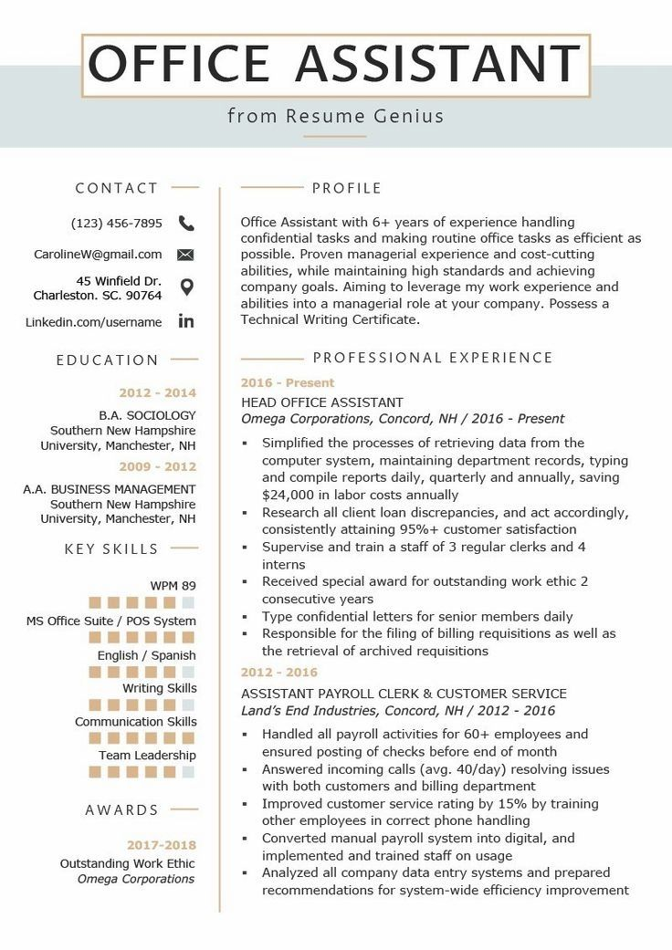 Resume Examples Office Office Assistant Resume Example