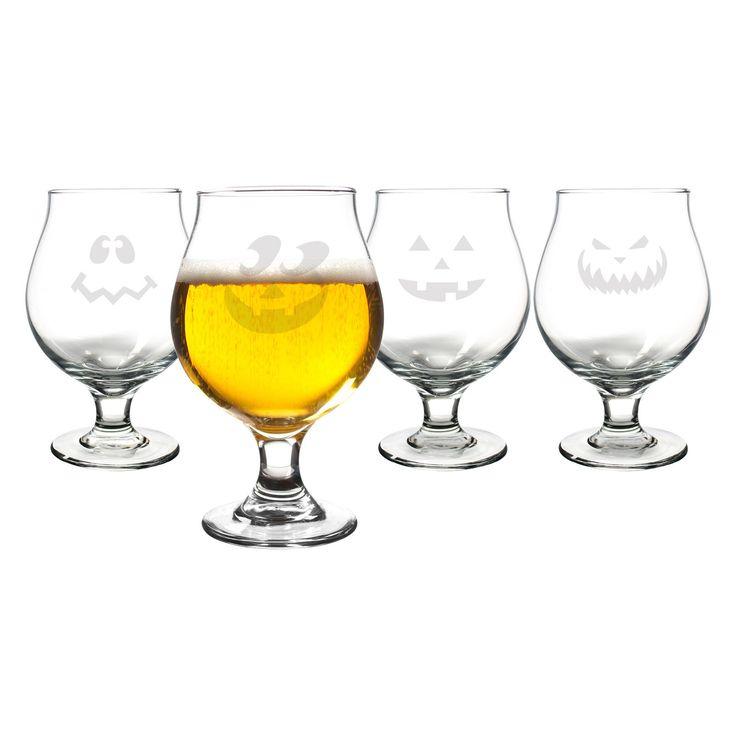 Cathys Concepts Jack-O-Lantern Belgian Beer Glasses - Set of 4 | from hayneedle.com
