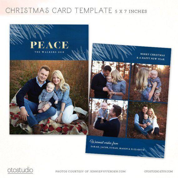 Christmas Card Template Merry Christmas Photo Card Peace Etsy Christmas Card Template Christmas Cards Merry Christmas Card Photo