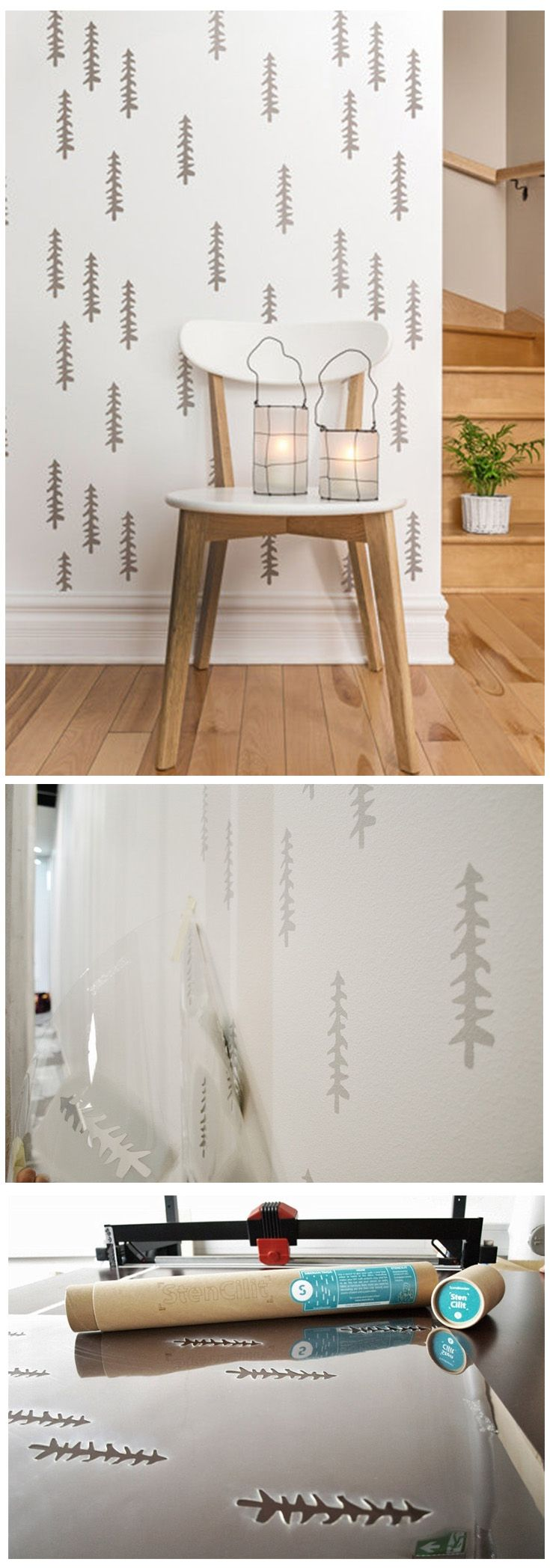 94 best wall stencils images on pinterest wall stenciling tree stencil with nordic effect achieve this simple and scandinavian look with this wall stencil amipublicfo Image collections