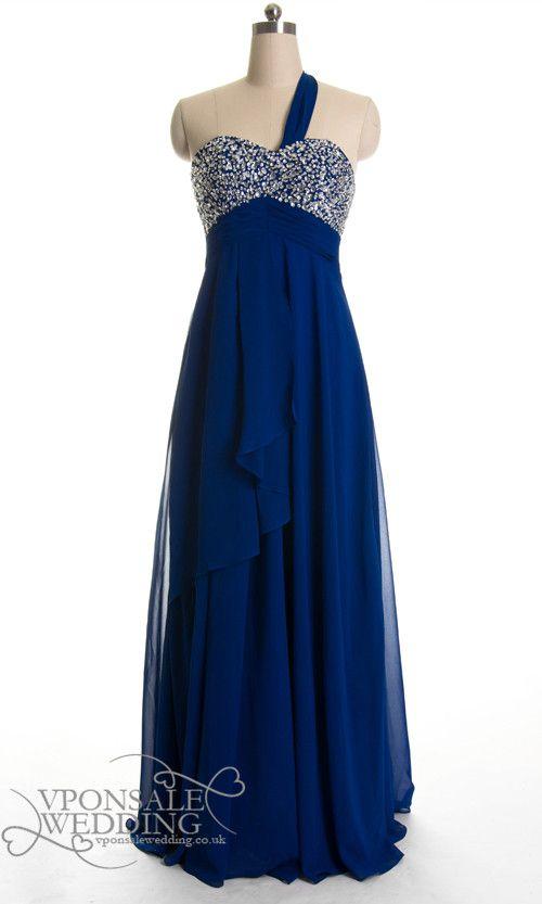 Navy Blue One Shoulder Sequin Prom Dress Long Dvp0016