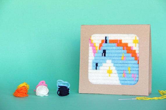 Unicorn embroidery kit for kids and moms includes everything you need to create your own hand embroidered art. The Unicorn embroidery design is