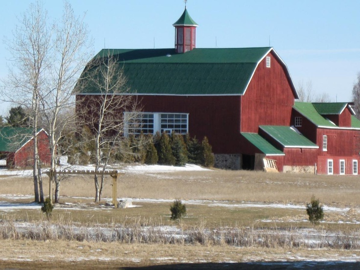 Handsome barn at Fields of West Lake, Wellington, Ontario, Canada