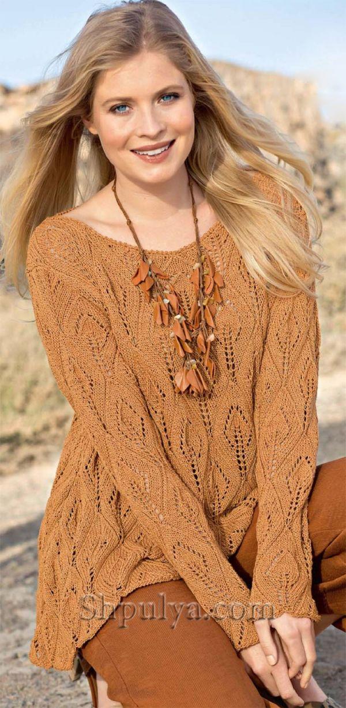 Расклешенный ажурный пуловер