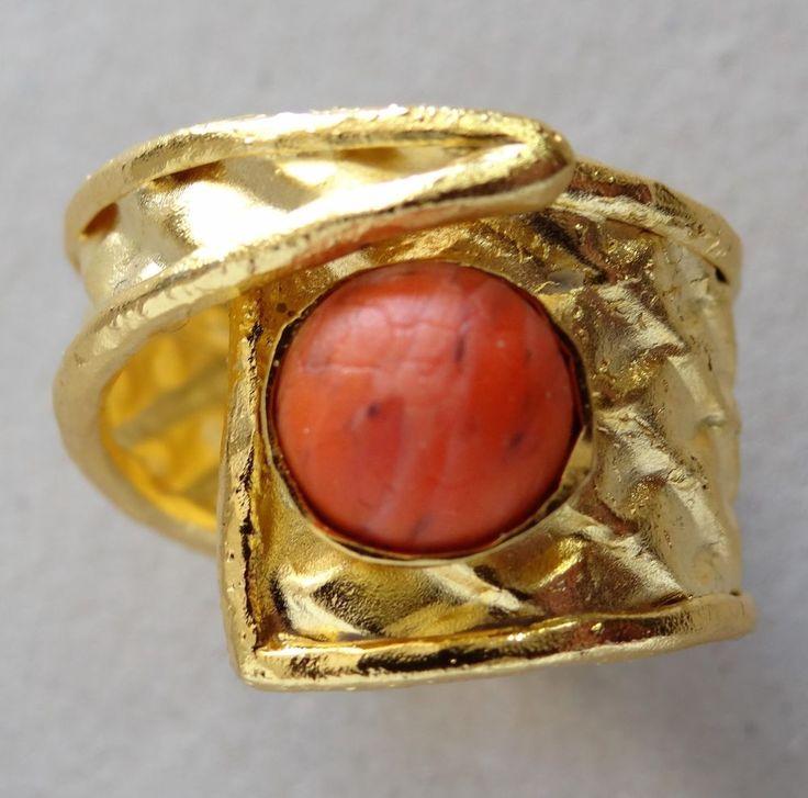 Designer Rarities 24K Gold Plated Sterling Silver Flex Ring Magical Good Energy
