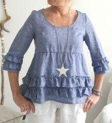 Linen blouse JOHANNA, Denim-blue