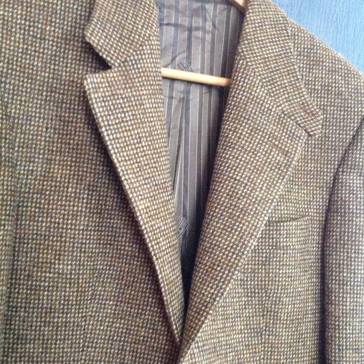 Tan Tweed Blazer Men   Vintage Men's Harris Tweed Light Brown Blazer