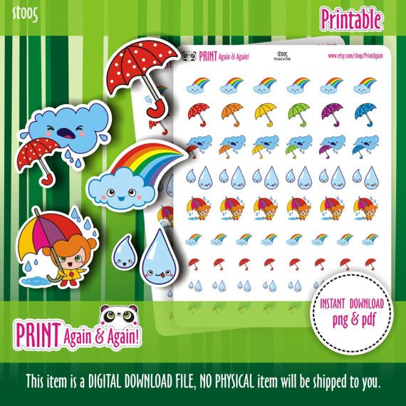 Rainy day Printable Planner Stickers Weather by PrintAgain on Etsy