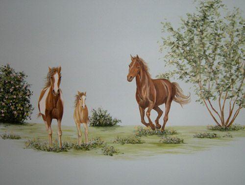 Western Kids Rooms, Grey Horse Wallpaper And Bedroom