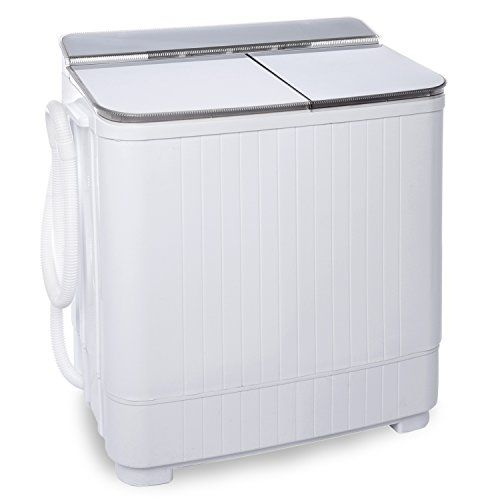 Ivation Small Compact Portable Washing Machine - Twin Tub... Mini Washer & Spinner Combo Helps You Do Small to Medium Loads of Laundry in One Convenient Unit 8 Pound Wash Capacity & 4.4 Pound Spin Capacity;  Built-In Drainage Pump & Tube for Easy Emptying & Filling; Monitor Cycle Progress through Clear Lid Portable Tub is Great for Compact Spaces Like Apartments, Condos, Dorms, Guesthouses & Motor Homes