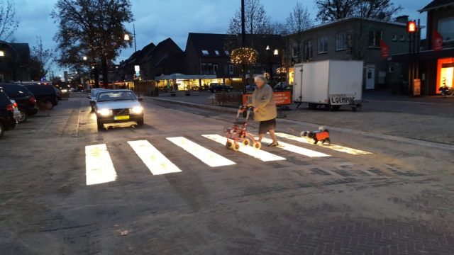 WORLD'S FIRST LIGHTED ZEBRA CROSSING IN THE NETHERLANDS; To solve the problem of bad visibility, the Dutch company Lighted Zebra Crossing has installed the world's first lighted zebra crossing.