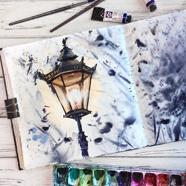 Watercolor art by @_alenaponkratova_ painting, dra…