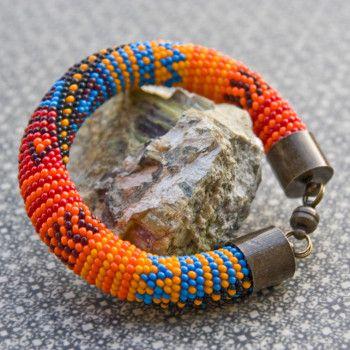 Bransoletka szydełkowo-koralikowa