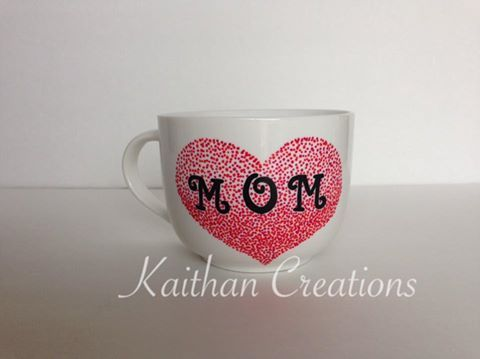 Mom Ceramic Mug by Kaithan Creations.  Can be personalized.  Visit my Facebook page for more creatiosn or to place your order.  https://www.facebook.com/kaithancreations/photos/a.218304591702629.1073741829.216663808533374/463234900542929/?type=3