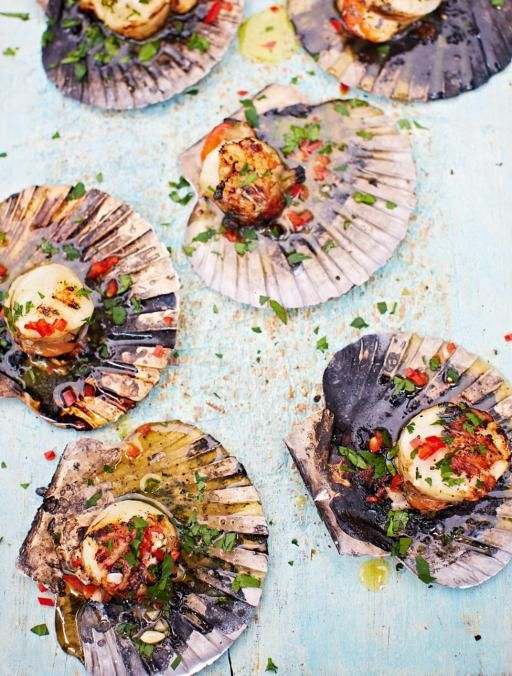DJ BBQ's scallops with chilli garlic butter ~ Jamie Oliver