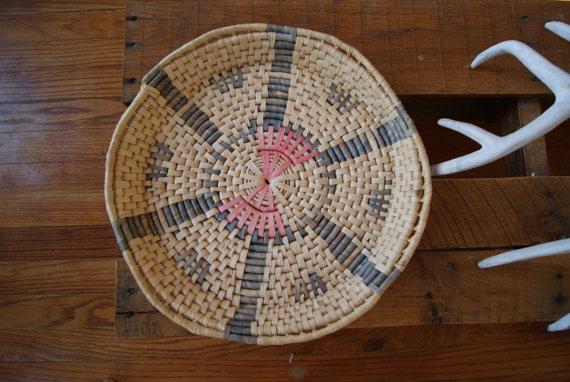 Vintage Pastel Raffia Circle Basket by ReinVintBrooklyn on Etsy, $35.00