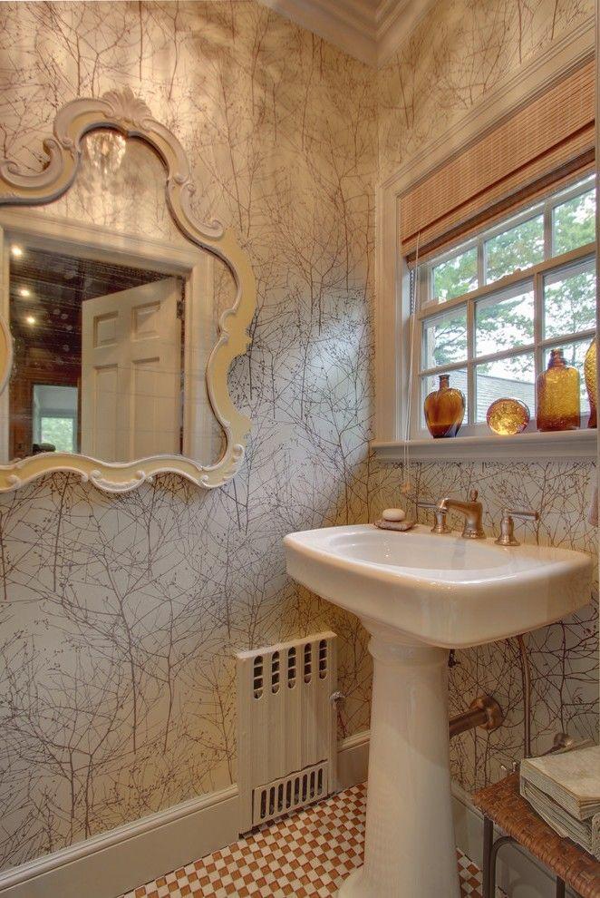 Corner Pedestal Sink with Curbless Shower Towel Storage Glass Door