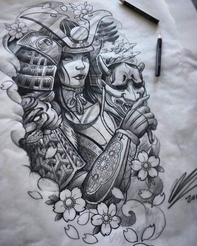 Drawing Japanese Warrior Tattoo Design